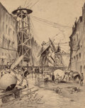 Paintings, HENRIQUE ALVIM CORRÊA (Brazilian, 1876-1910). Humans Dissecting Martian War Machines, from The War of the Worlds, Be...