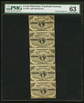 Fr. 1226 3¢ Third Issue Uncut Strip of 5 PMG Choice Uncirculated 63