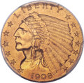 Proof Indian Quarter Eagles, 1908 $2 1/2 PR58 PCGS....