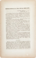 Books:Pamphlets & Tracts, [Confederate Texas] Imprint: Resolutions of the Texas Brigade....