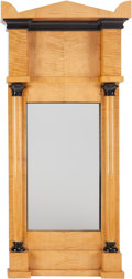 Miscellaneous, A BIEDERMEIER BLOND WOOD PIER MIRROR, circa 1820-1830. 55 x 26-1/4x 4-3/4 inches (139.7 x 66.7 x 12.1 cm). PROPERTY FROM ...