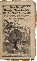 Books:Pamphlets & Tracts, [David Crockett]. Davy Crockett's Almanack, of Wild Sports inthe West, Life in the Backwoods, Sketches of Texas, and Ro...