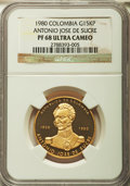 Colombia, Colombia: Republic Proof gold 15000 Pesos 1980 PR68 Ultra Cameo NGC,...