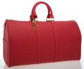 Luxury Accessories:Travel/Trunks, Louis Vuitton Red Epi Leather Keepall 45 Weekender Bag. ...