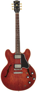 Musical Instruments:Electric Guitars, 1962 Gibson ES-335 Cherry Semi-Hollow Body Electric Guitar, Serial# 103128....