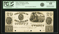 Chester, PA - Bank of Delaware County $20 18__ PA-65 G64 Hoober 61-19. Proof PCGS Choice About New 55