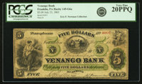 Franklin, PA - Venango Bank $5 July 23, 1863 PA-145 G6a Hoober 126-3. PCGS Very Fine 20PPQ