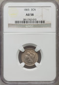 Three Cent Nickels: , 1865 3CN AU58 NGC. NGC Census: (194/1545). PCGS Population (319/1637). Mintage: 11,382,000. Numismedia Wsl. Price for probl...
