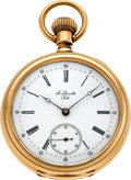 Timepieces:Pocket (pre 1900) , A. Leonville, Locle Heavy 18k Gold Pocket Watch. ...