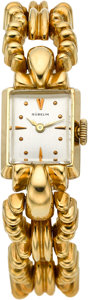 Timepieces:Wristwatch, Gubelin Lady's Yellow Gold Wristwatch, circa 1950's. ...