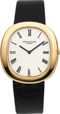 "Timepieces:Wristwatch, Patek Philippe Ref. 3589 Very Fine ""Ellipse"" Automatic Gold Wristwatch, circa 1975. ..."
