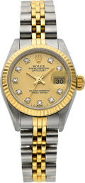 Timepieces:Wristwatch, Rolex Ref. 69000 Lady's Two Tone Diamond Dial Datejust, circa 1987. ...