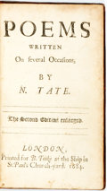 Books:Literature Pre-1900, Nahum Tate. Poems Written On several Occasions. The SecondEdition enlarged. London: for Benj[amin] Tooke, 1684....