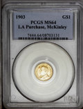 Commemorative Gold: , 1903 G$1 Louisiana Purchase/McKinley MS64 PCGS. Well struck withbright luster and pleasing yellow-gold color. Small red-or...