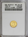 Commemorative Gold: , 1904 G$1 Lewis and Clark--Cleaned--ANACS. Unc. Details, Net AU55. Afaintly hairlined but relatively inoffensively cleaned ...