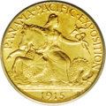 Commemorative Gold: , 1915-S $2 1/2 Panama-Pacific Quarter Eagle AU58 ICG. Minimallyrubbed with a glossy, honey-gold sheen and few noticeable ab...