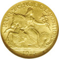 Commemorative Gold: , 1915-S $2 1/2 Panama-Pacific Quarter Eagle MS65 NGC. Both sidesexhibit luxuriant satiny luster and tinges of olive patina ...