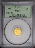Commemorative Gold: , 1916 G$1 McKinley MS63 PCGS. Attractive olive-orange-goldcoloration beautifies the satiny, lustrous surfaces of thiscomme...