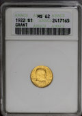 Commemorative Gold: , 1922 G$1 Grant No Star MS62 ANACS. Delectable copper-gold surfaceson both sides offer a hint of hazel on the highpoints. A...