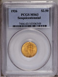 Commemorative Gold: , 1926 $2 1/2 Sesquicentennial MS63 PCGS. The toning on both sides ofthis lustrous coin is an unusually deep reddish-golden ...