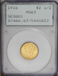 Commemorative Gold: , 1926 $2 1/2 Sesquicentennial MS63 PCGS. Top notch for the Selectgrade with shimmering luster that drips from the surfaces....