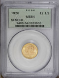 Commemorative Gold: , 1926 $2 1/2 Sesquicentennial MS64 PCGS. An attractive and lustrouspiece that features rich apricot devices and light green...