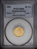 Commemorative Gold: , 1926 $2 1/2 Sesquicentennial MS64 PCGS. Another copper-goldnear-Gem with blue-gray highlights, lustrous on the obverse but...
