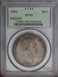 Coins of Hawaii: , 1883 $1 Hawaii Dollar XF45 PCGS. A bold gunmetal-gray andgolden-brown representative of this...