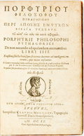 Books:Metaphysical & Occult, Porphyry [Prophyrius]. [Greek Title] De non necandis adepulandum animantinus Libri IIII. Lyon: Claude Morillon,...