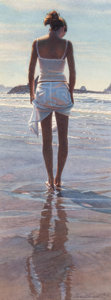Pin-up and Glamour Art, STEVE HANKS (American, b. 1949). Standing on her Own, 2005.Watercolor on paper. 14.375 x 5.375 in. (sight). Signed and ...