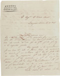 Autographs:Military Figures, [Mexican Invasions of 1842]. General Isidro Reyes Autograph Letter Signed....