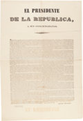 Miscellaneous:Broadside, Anastasio Bustamante Presidential Broadside....