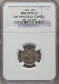 Three Cent Nickels, 1868 3CN -- Obv Improperly Cleaned -- NGC Details. Unc. NGC Census: (0/444). PCGS Population (4/482). Mintage: 3,252,000. N...