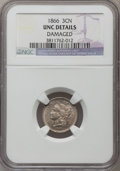 Three Cent Nickels, 1866 3CN -- Damaged -- NGC Details. Unc. NGC Census: (0/629). PCGS Population (12/647). Mintage: 4,801,000. Numismedia Wsl....