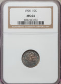 Barber Dimes: , 1906 10C MS64 NGC. NGC Census: (100/53). PCGS Population (98/52). Mintage: 19,958,406. Numismedia Wsl. Price for problem fr...