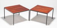 FLORENCE KNOLL (American, b. 1917) Side Table (a pair), circa 1961 Rosewood, painted stee