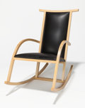 Furniture : Continental, CARLOS RIART (Spanish, b. 1944). Rocker, 1982. Sycamore withinlaid ebony, leather upholstery. 37-5/8 x 23-3/8 x 42 inch...