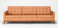 Post-War & Contemporary:Contemporary, FLORENCE KNOLL (American, b. 1917). Sofa, circa 1960. Walnutbase, leather upholstery. 30-3/4 x 90-1/4 x 31-1/2 inches (...