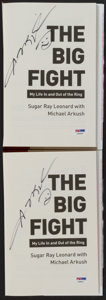 """Boxing Collectibles:Autographs, Sugar Ray Leonard Signed """"The Big Fight"""" Hardcover Books Lot of 2...."""