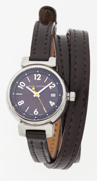 Louis Vuitton Stainless Steel Tambour Watch with Brown Leather Strap