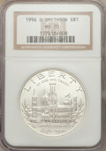 Modern Issues: , 1996-D $1 Smithsonian Silver Dollar MS70 NGC. NGC Census: (457). PCGS Population (374). Mintage: 31,320. Numismedia Wsl. Pr...