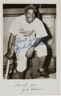 Baseball Collectibles:Photos, 1966 Jackie Robinson Twice Signed Postcard. ...