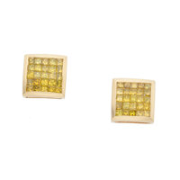 Irradiated Yellow Diamond, Gold Earrings