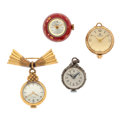 Timepieces:Pendant , Three Ball Pendants & One Lapel Watches Runners. ... (Total: 4 Items)
