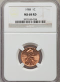 Lincoln Cents: , 1988 1C MS68 Red NGC. NGC Census: (42/0). PCGS Population (19/0). Numismedia Wsl. Price for problem free NGC/PCGS coin in ...