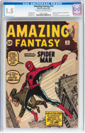 Silver Age (1956-1969):Superhero, Amazing Fantasy #15 (Marvel, 1962) CGC FR/GD 1.5 Cream to off-white pages....