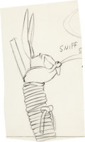 Animation Art:Production Drawing, Compressed Hare Bugs Bunny Animation Drawing (WarnerBrothers, 1961)....