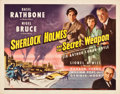 "Movie Posters:Crime, Sherlock Holmes and the Secret Weapon (Universal, 1942). Half Sheet(22"" X 28"").. ..."