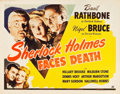 "Movie Posters:Mystery, Sherlock Holmes Faces Death (Universal, 1943). Half Sheet (22"" X28"").. ..."