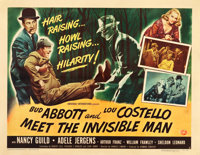 "Abbott and Costello Meet the Invisible Man (Universal International, 1951). Half Sheet (22"" X 28"") Style A and..."